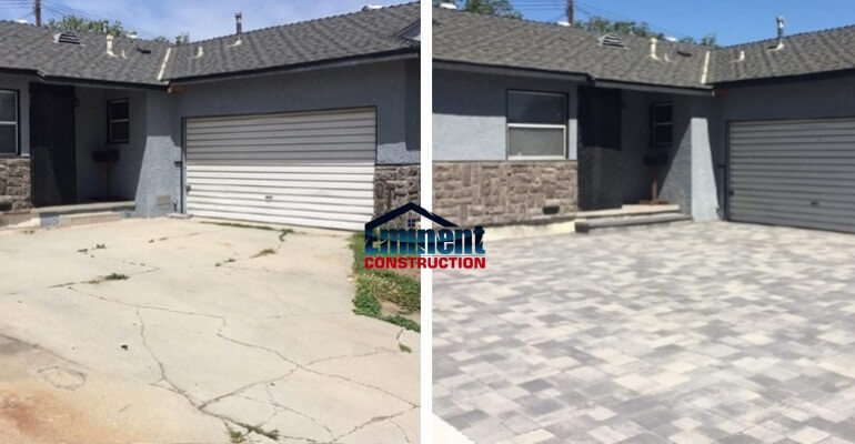 Replacing old concrete with new pavers